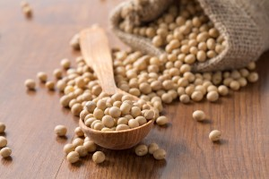 soya beans on wooden surface